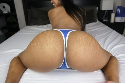 One of our naked asian pics called My fat filipina ass is covered in tiger stripes... Would you still pull my panties aside?
