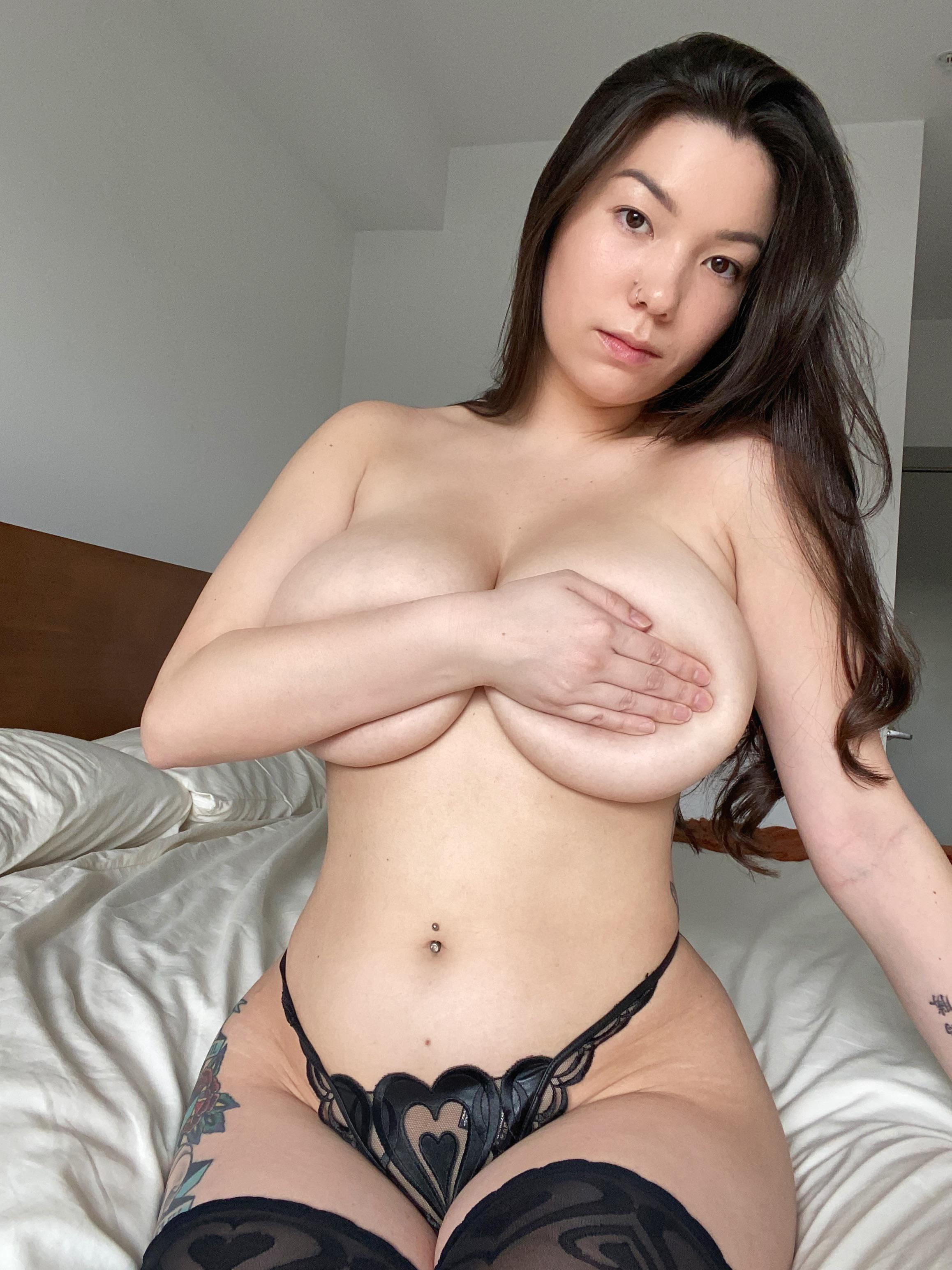 One of our naked asian pics called Which look the juiciest- my tits, hips, or lips?