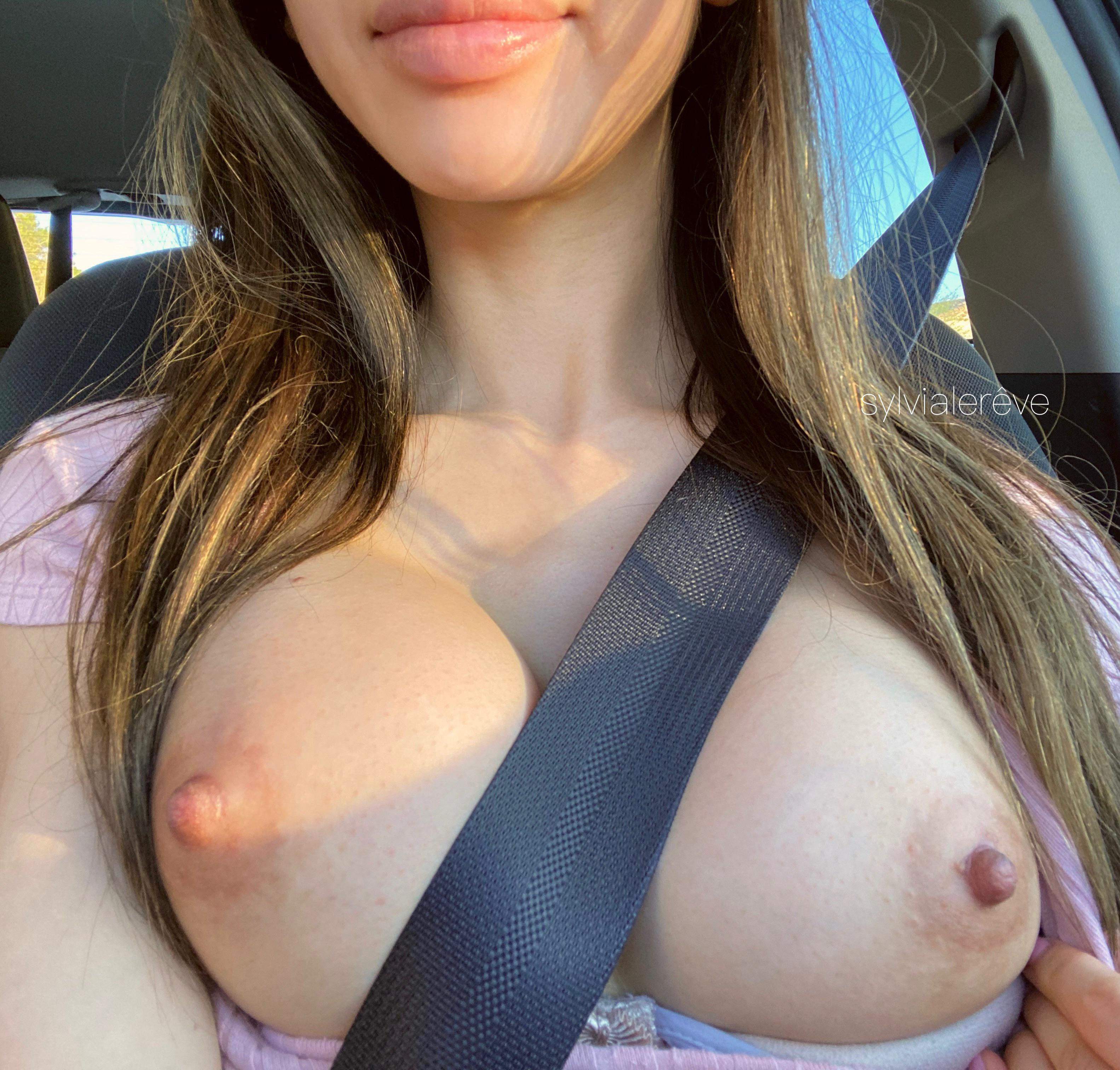 One of our naked asian pics called I hope the cars around me saw my titties ;)