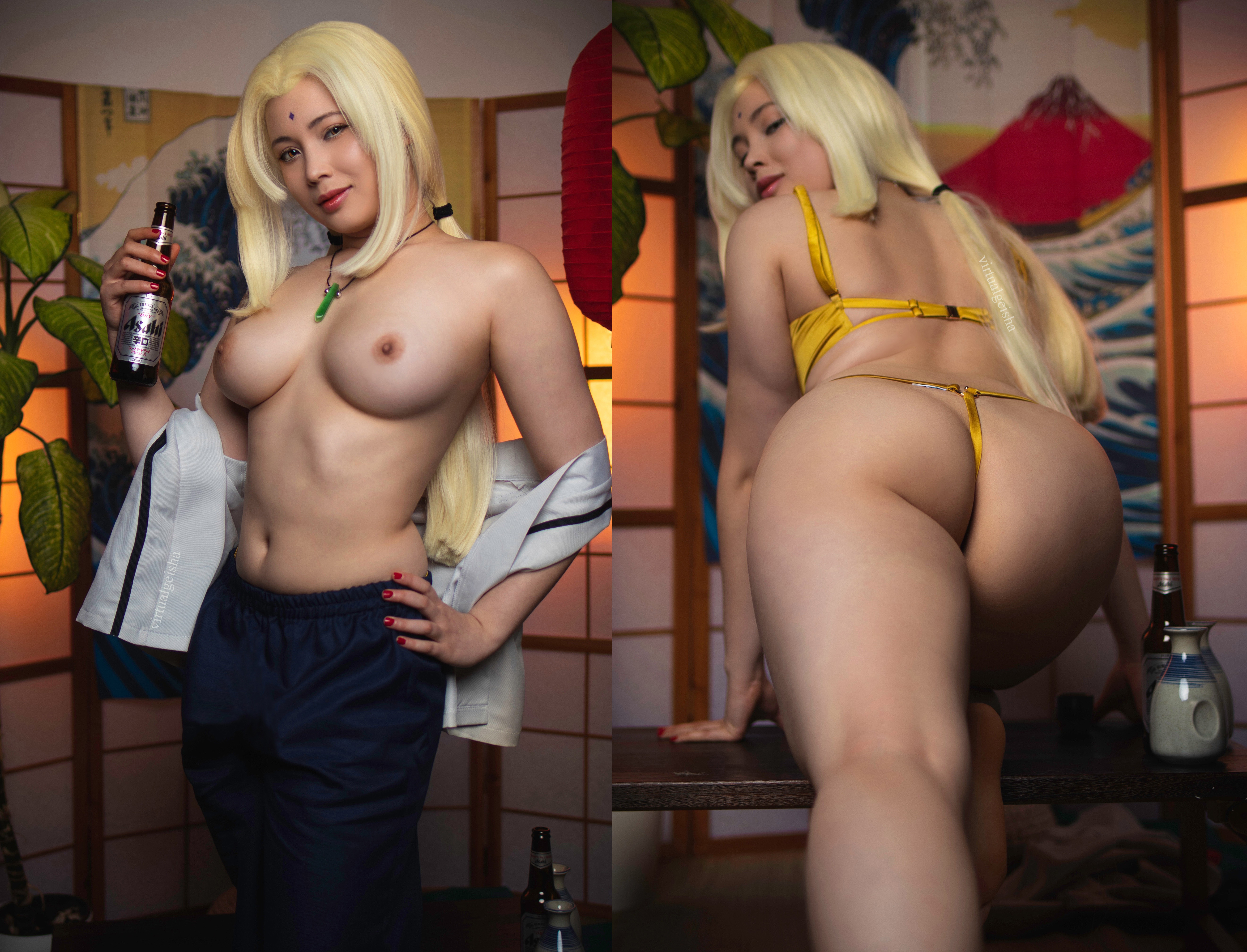 One of our naked asian pics called Would you share a drink with Tsunade?