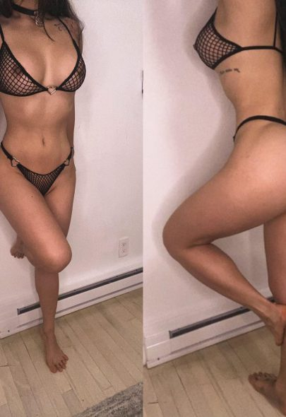 One of our naked asian pics called Would you like to cum all over my fishnet bikini? I hope you like slutty Korean girls in bed