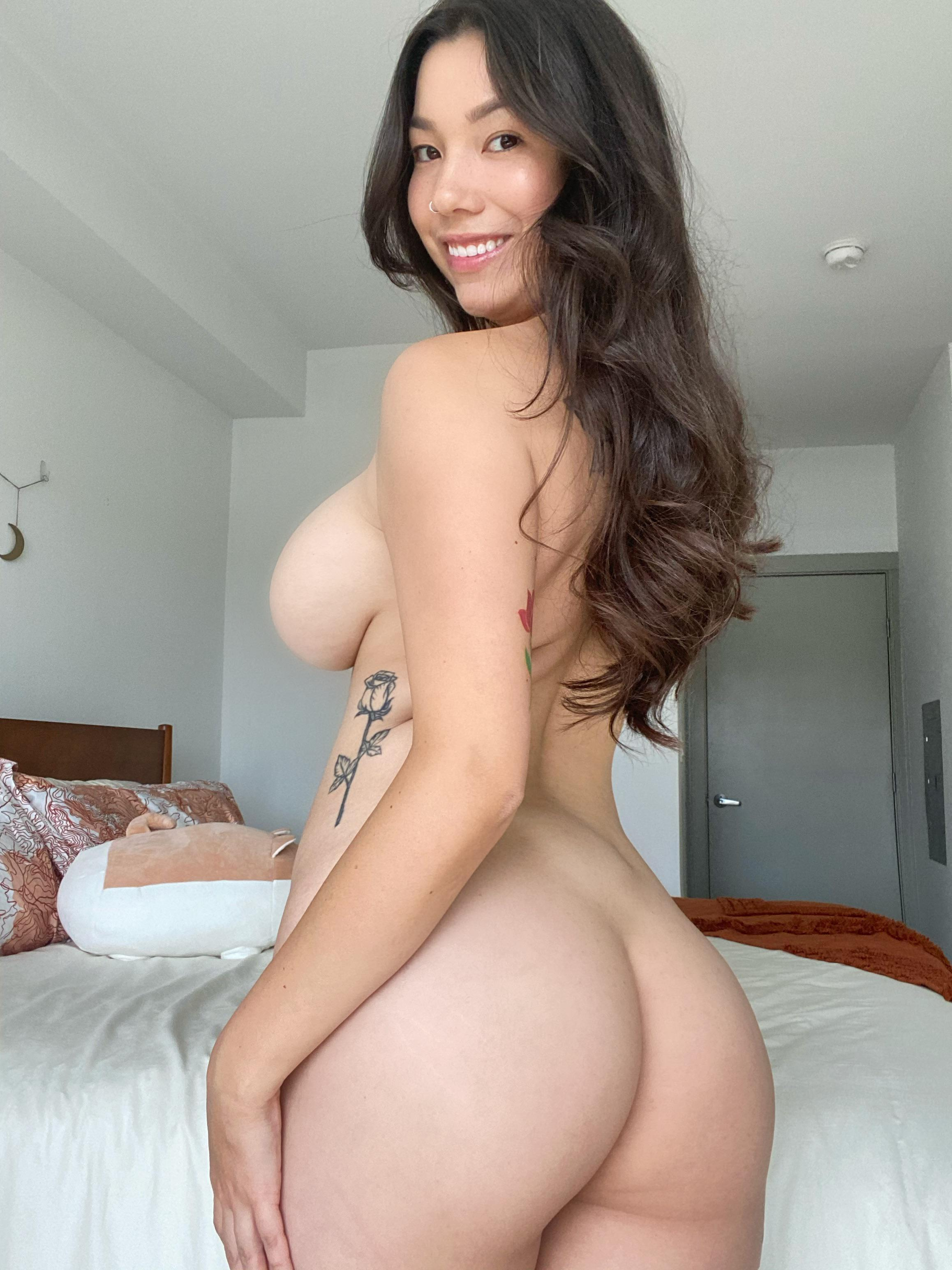 One of our naked asian pics called How badly do you want me to turn around?