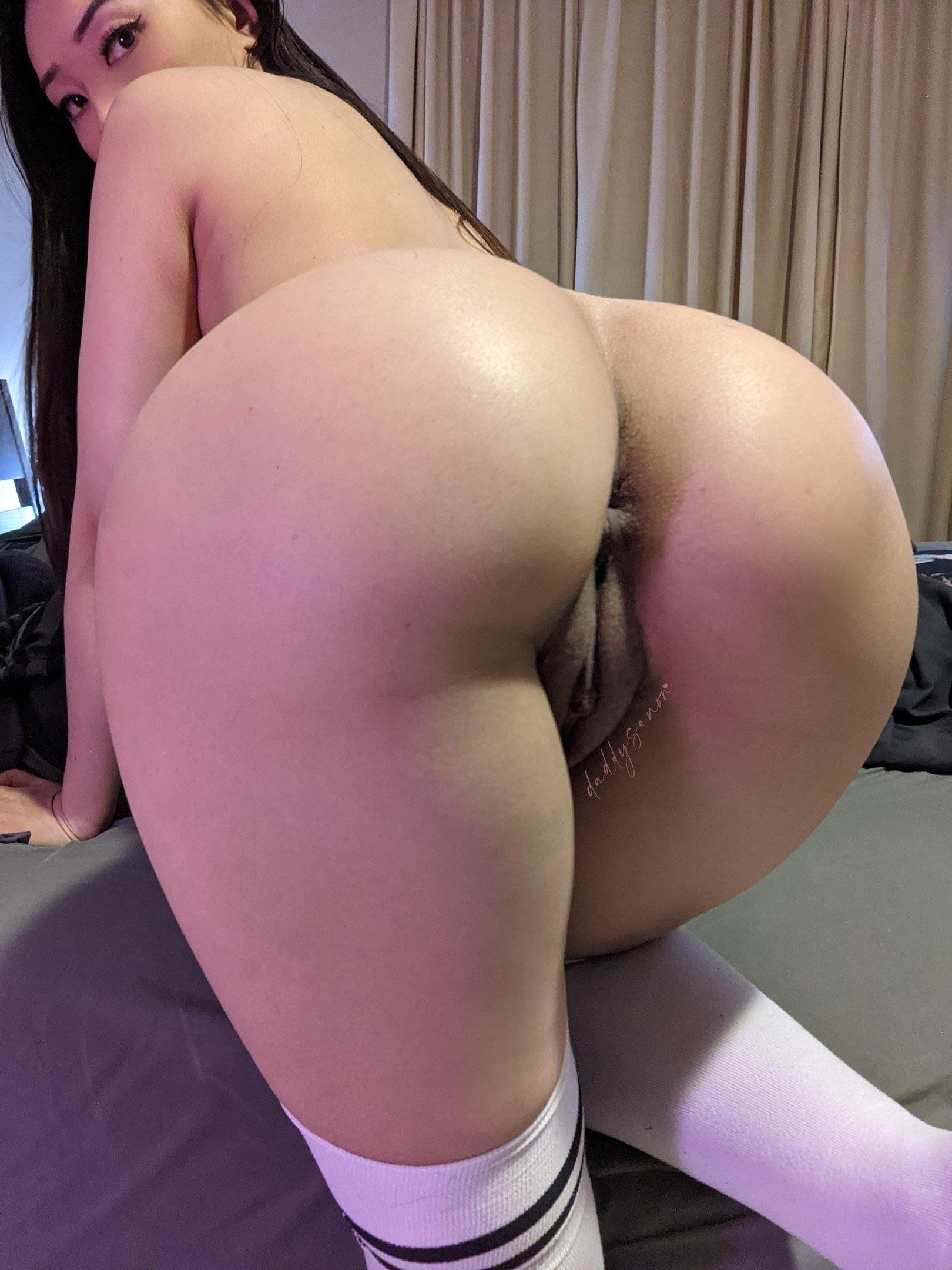 Bent over, thigh highs, ass shinning. Can you even hold back?